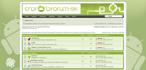 nová grafická téma androidforum.sk screenshot