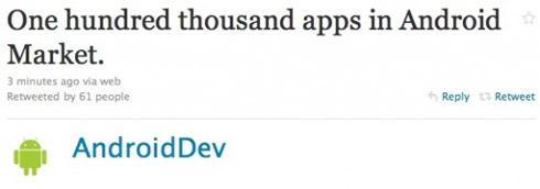 tweet o 100000 aplikácií v Android Market