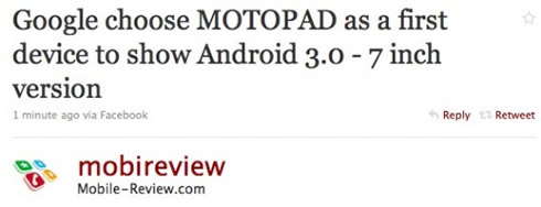 Motorola MOTOPAD tweet