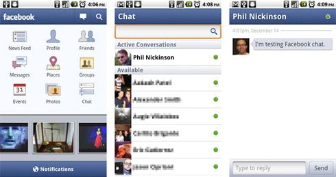 Facebook verzia 1.5 chat push notifikácie