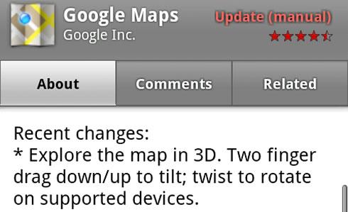 Google Mapy 5 3D rotácia máp