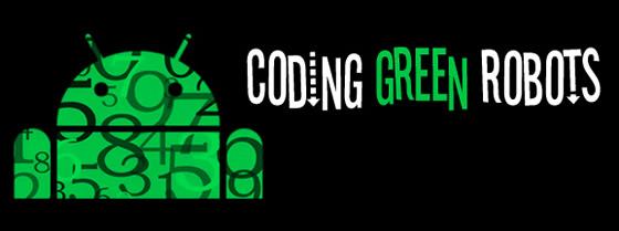 coding green robots android kodovanie