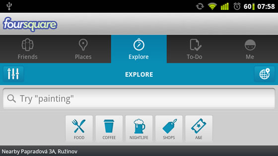 foursquare android aplikacia