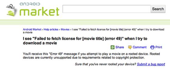 google movies blokovane root zariadenia android