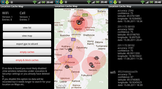 location cache mapa android
