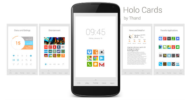 holo cards téma obrazovky android